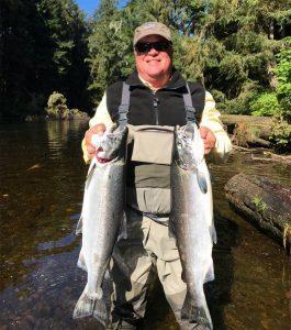 Bright Coho salmon landed