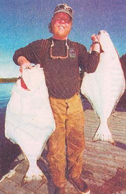 Guided halibut fishing off Prince of Wales Island, Alaska