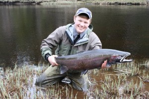 Fly fishing guide Nate Wagner with a nice Alaska steelhead