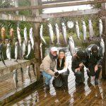 Catch of the day while saltwater salmon fishing at the lodge