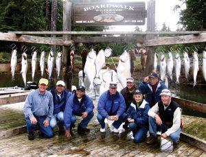 Group photo of Alaska Salmon fishing trip