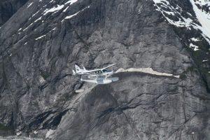 Glacial formations at the LeConte Glacier