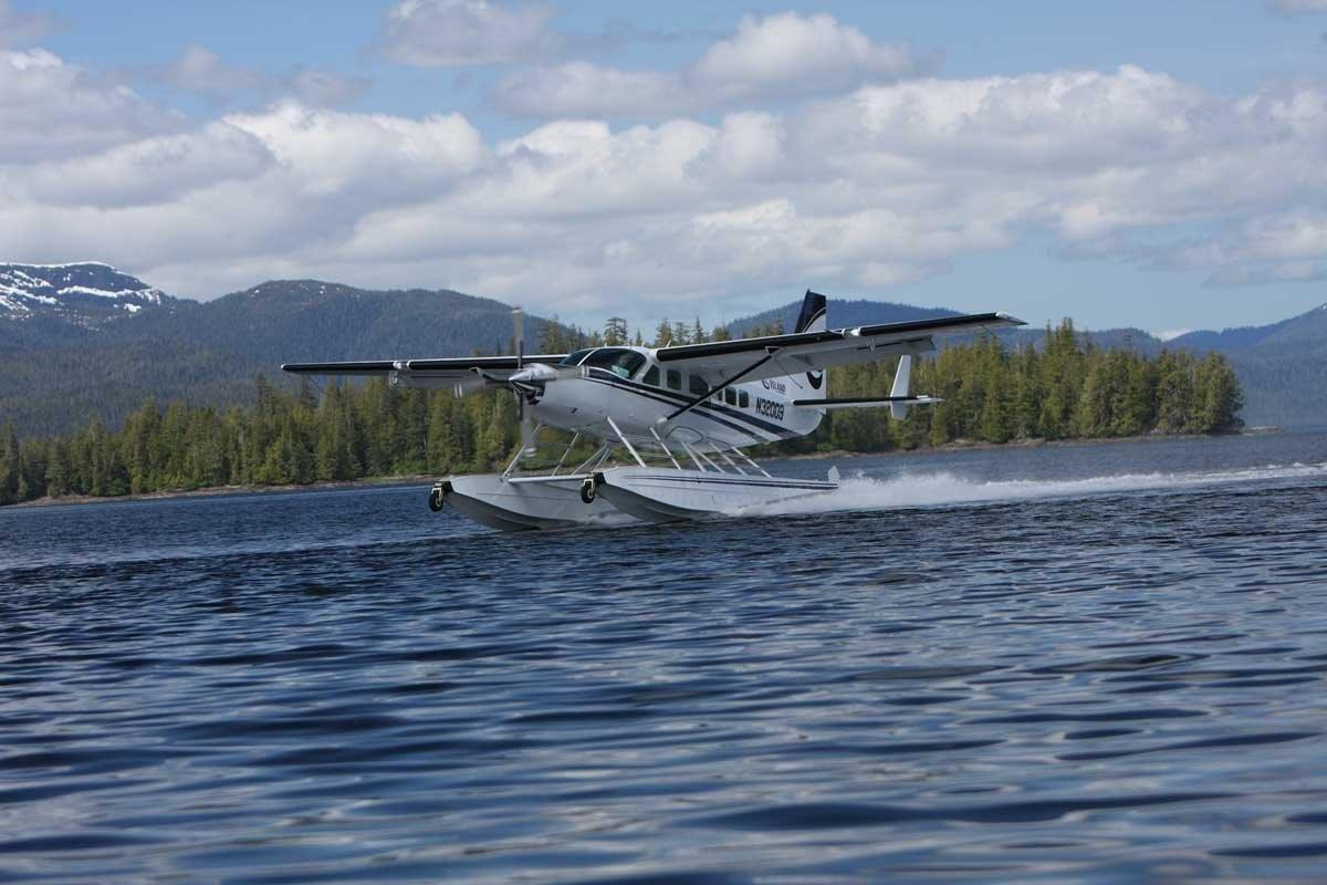 Floatplane takeoff for Alaska flightseeing adventures