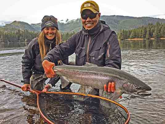 While Steelhead fishing Southeast Alaska, expert guide Jay Mar lands his first fish of the season