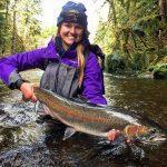 Kristen Atkins lands Alaska Steelhead on Prince of Wales Island