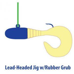 Illustration of lead-headed Halibut jig with rubber grub