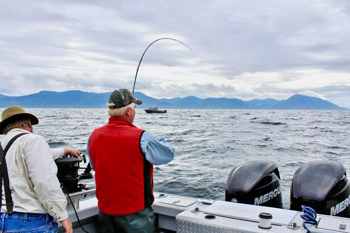 Saltwater fishing for king salmon on Prince of Wales Island, southeast Alaska