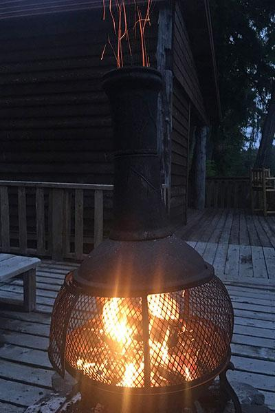 Warm yourself around the fire pit